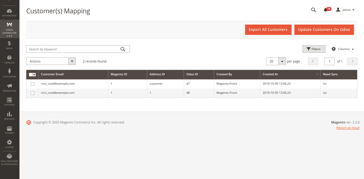 Export All Customers From Magento to Odoo