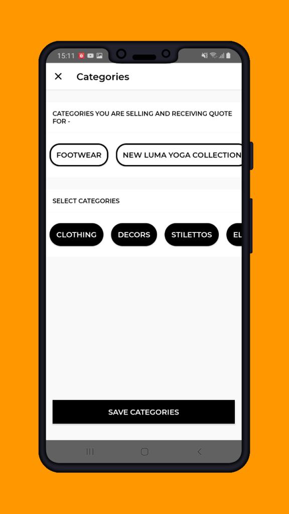 B2B Marketplace App -suppliers-categories