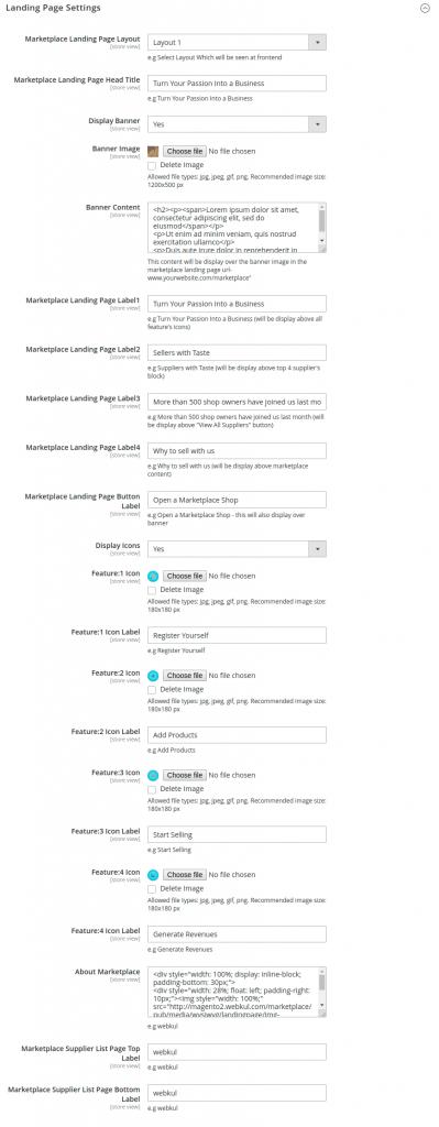 webkul_magento2_B2B Marketplace App _admin_landing_page_settings