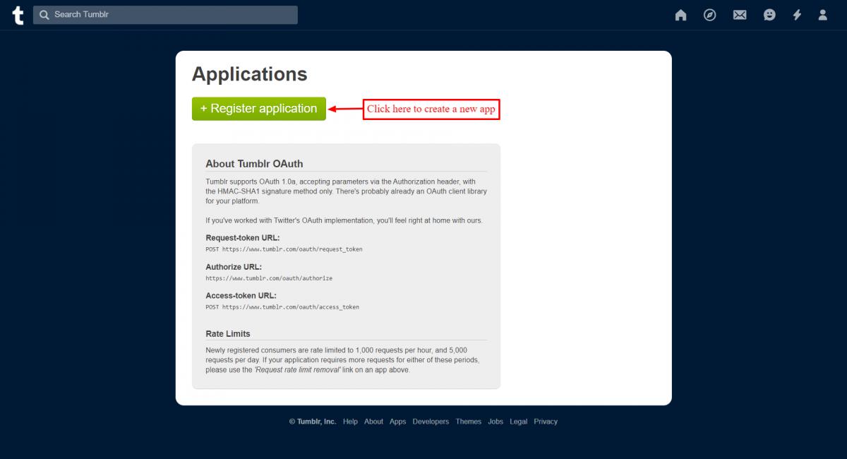 Register an application on tumblr