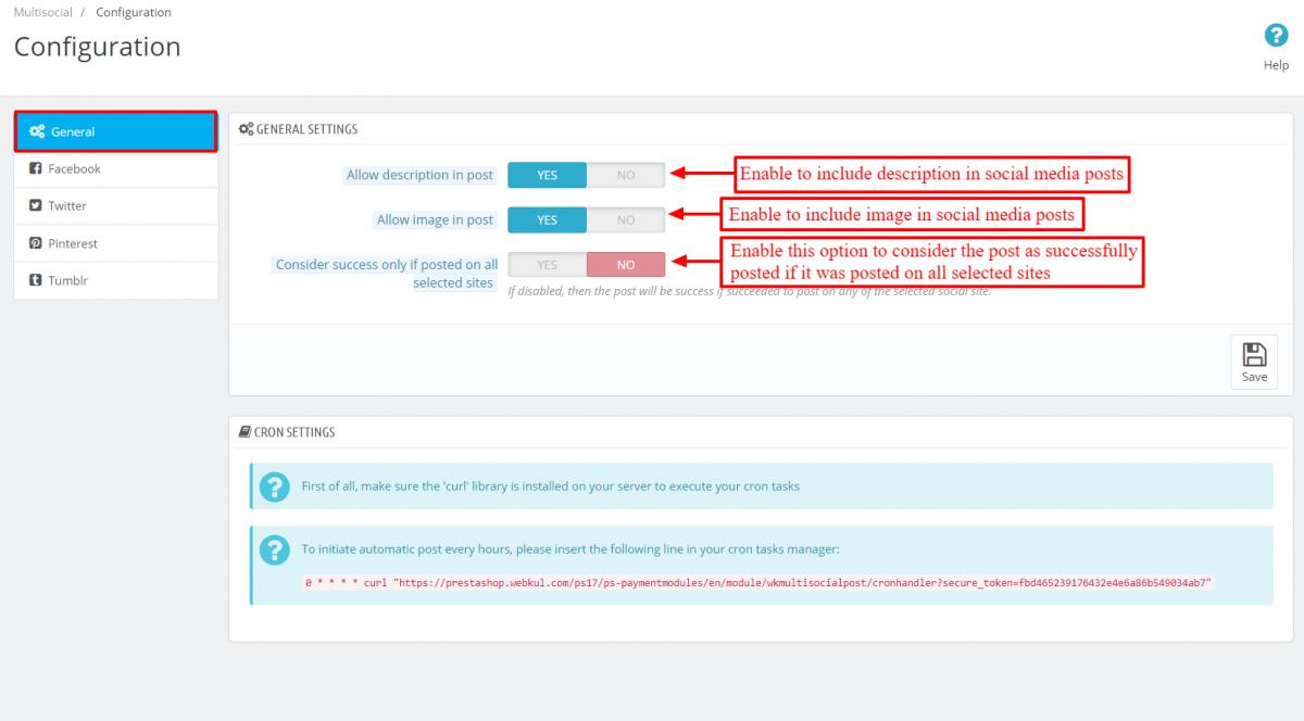 Configure Prestashop Multi-Social Posts module