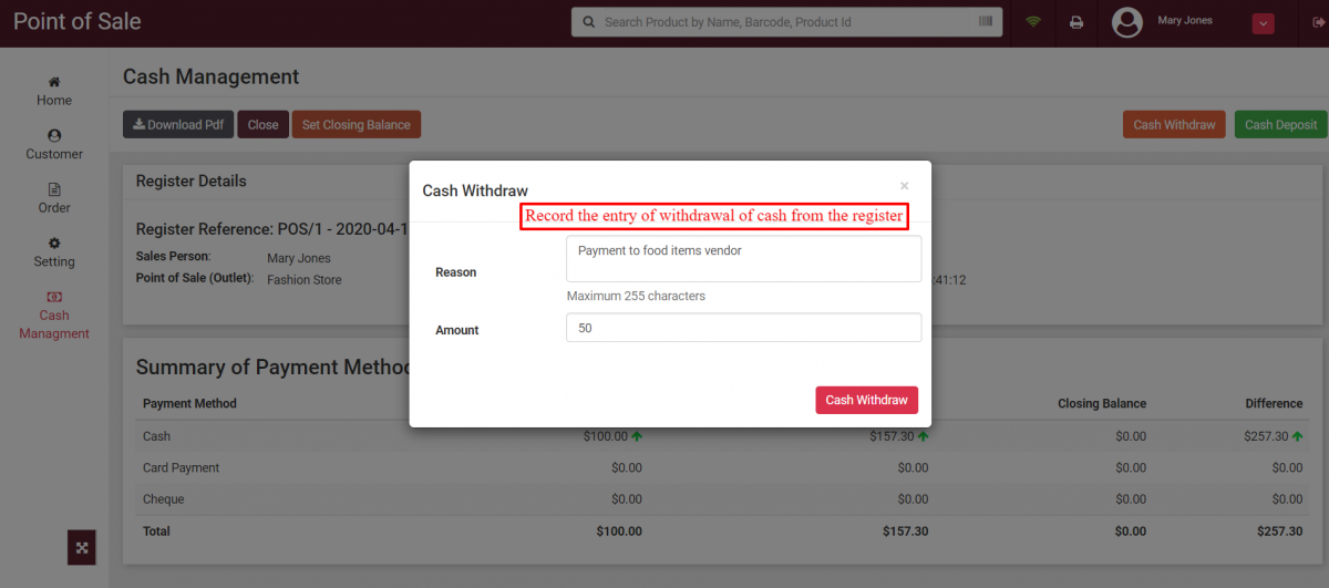 Record cash withdrawal at register