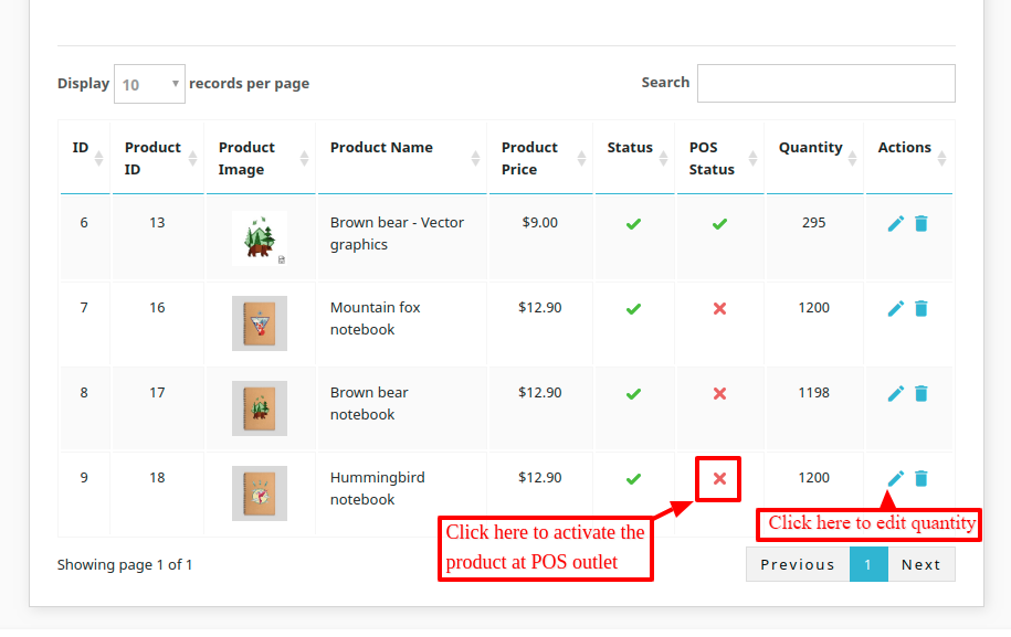 Enable products for POS outlet