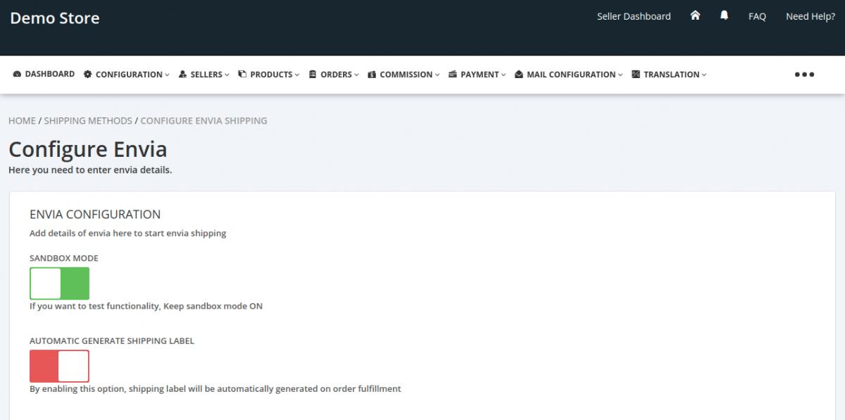 Envia-Configuration-Admin