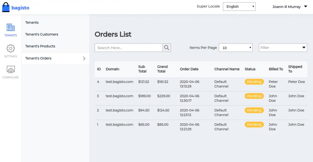 Webkul-Laravel-eCommerce-Mulit-Tenant-SaaS-Tenant-Order-List