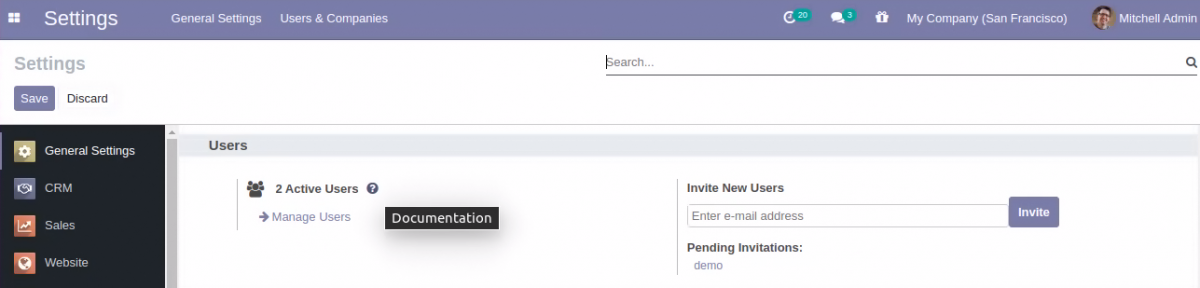 Setting is explained with documentation in Odoo Version 14