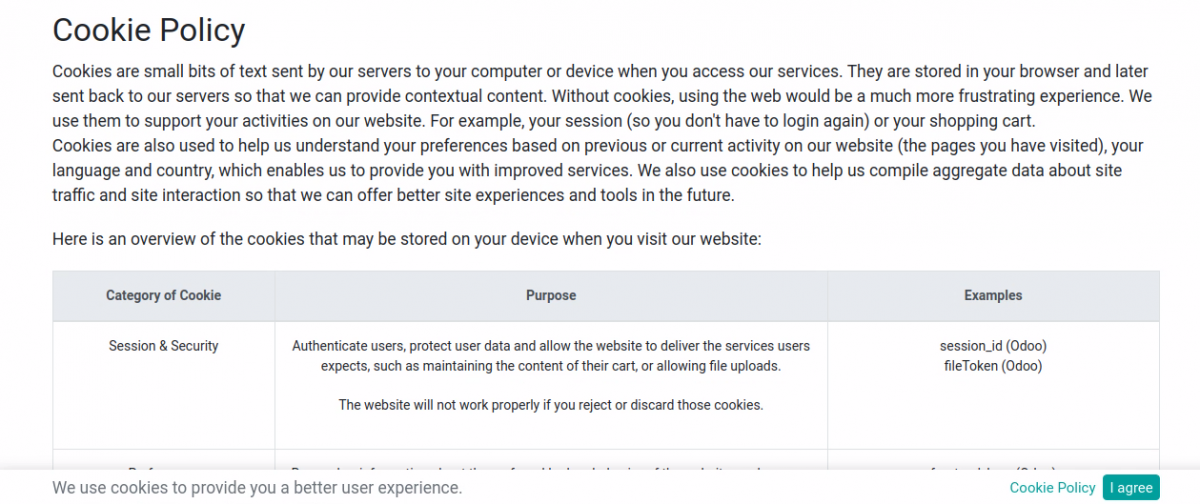 Enable/Disable Cookies bar on Website