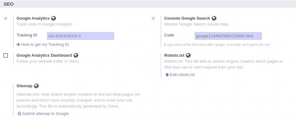 analytics details and manage seo part from Odoo 14 Website Configuration.