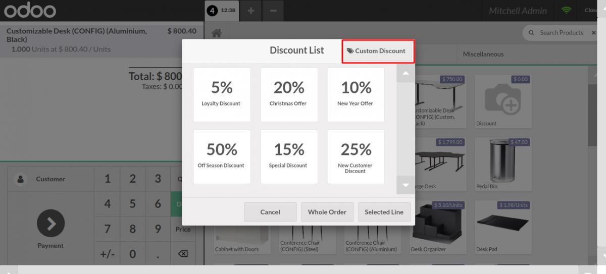 click on custom discount.