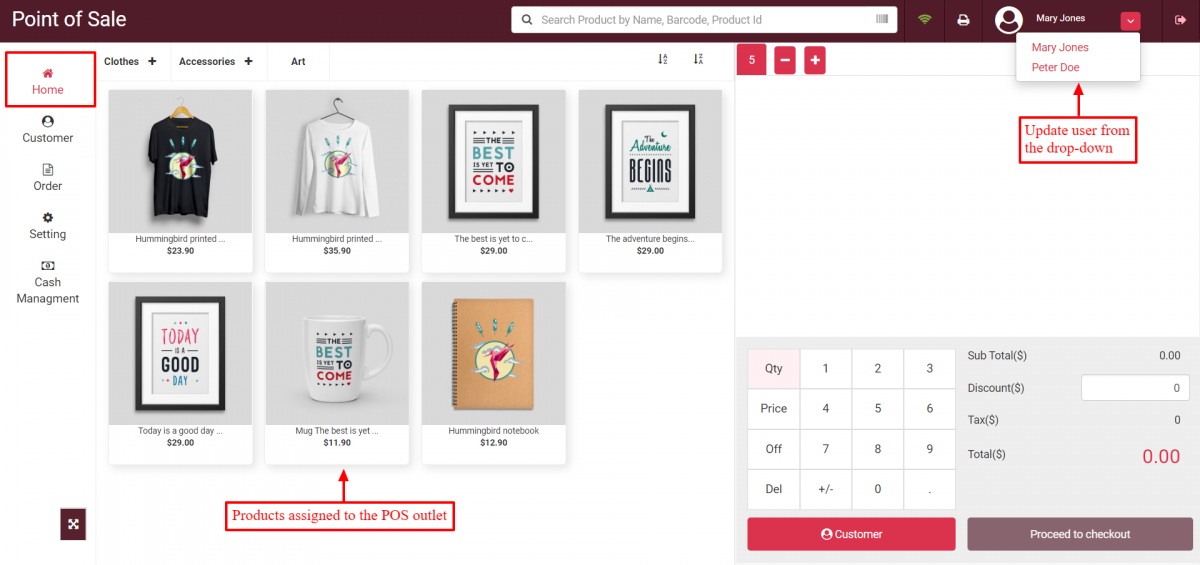 Home page of the Point of sale outlet