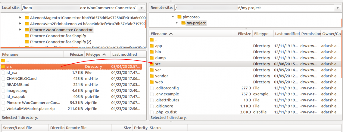 upload the src in Pimcore WooCommerce connector installation