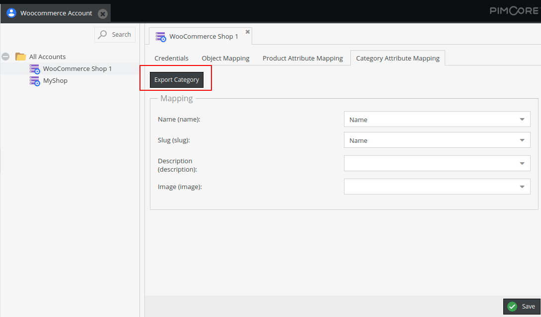 Categories export from Pimcore to WooCommerce