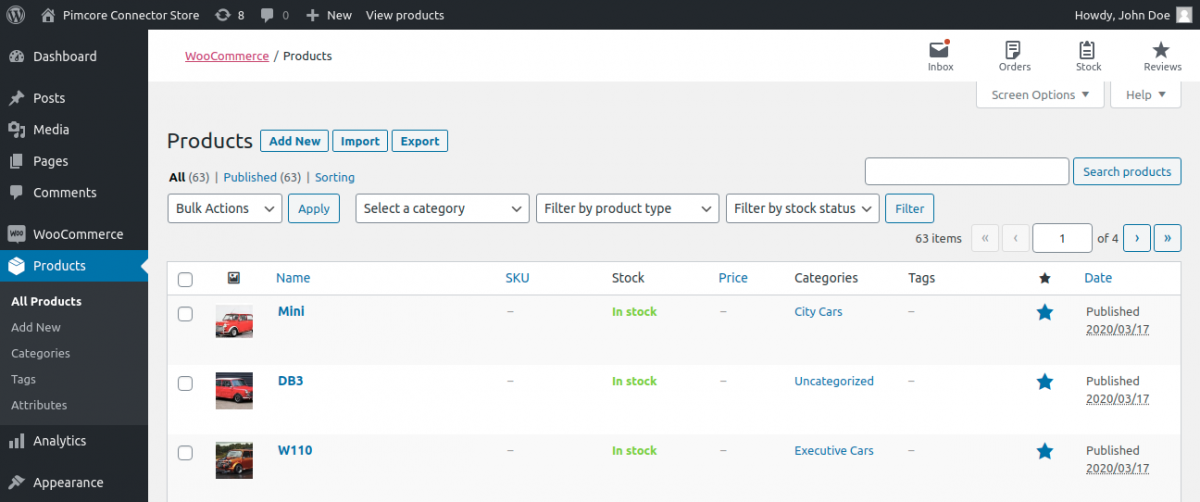 Products In WooCommerce after export