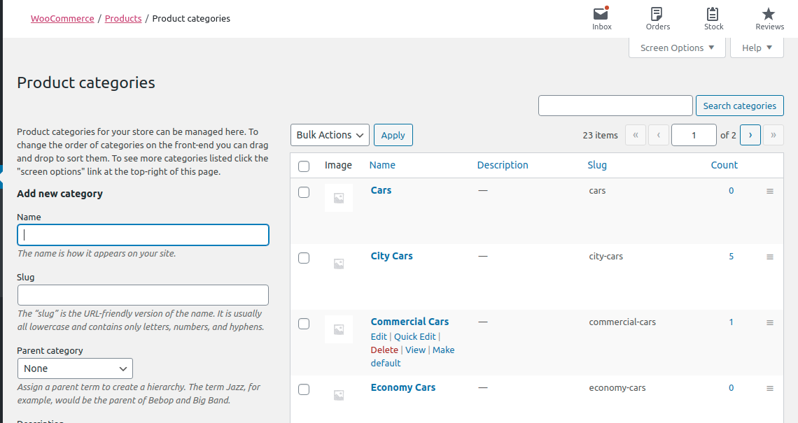 Categories in WooCommerce exported from Pimcore
