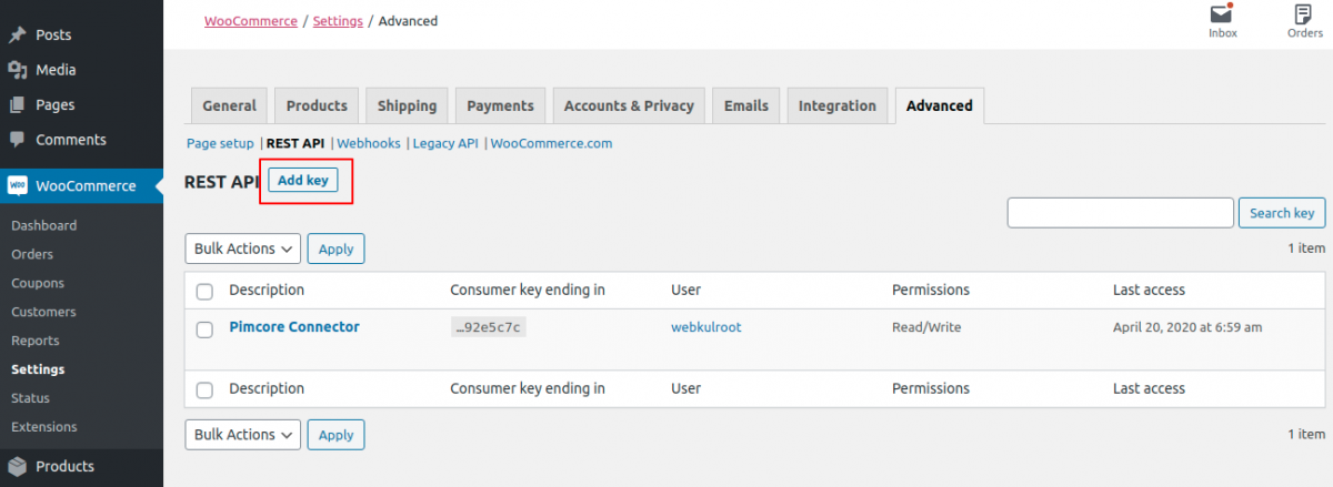 Add key in Pimcore WooCommerce Connector
