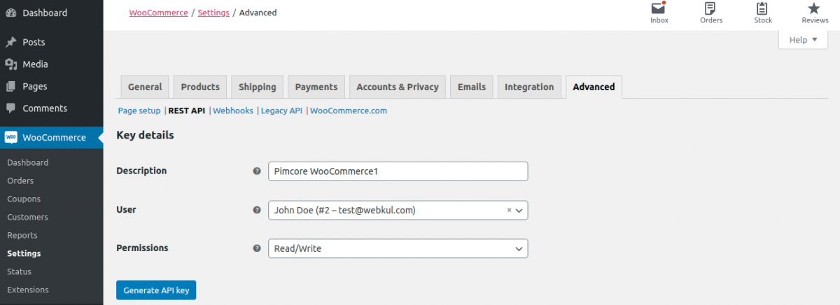 Add credential details in Pimcore WooCommerce Connector