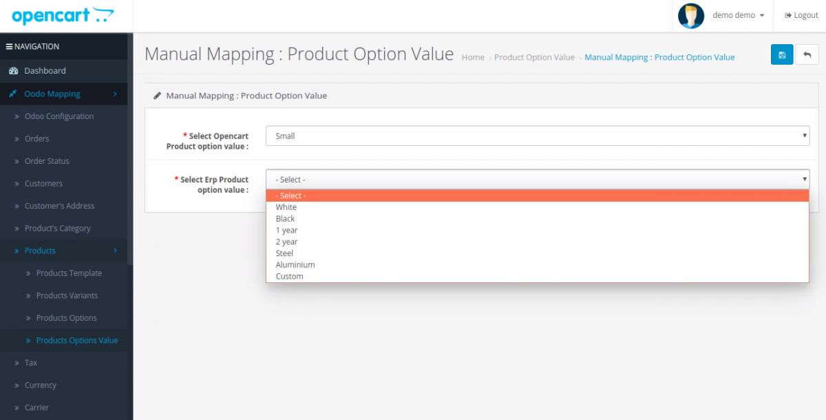 manually map the Attribute Options Value