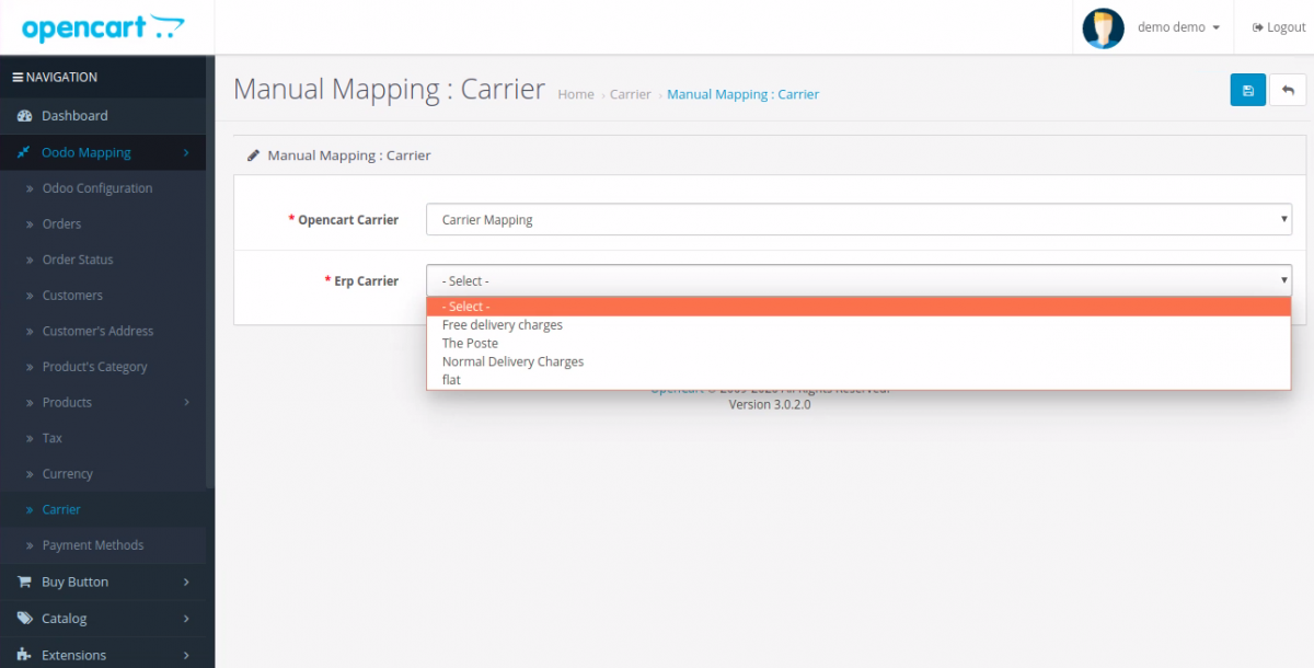 manually map the Delivery Methods