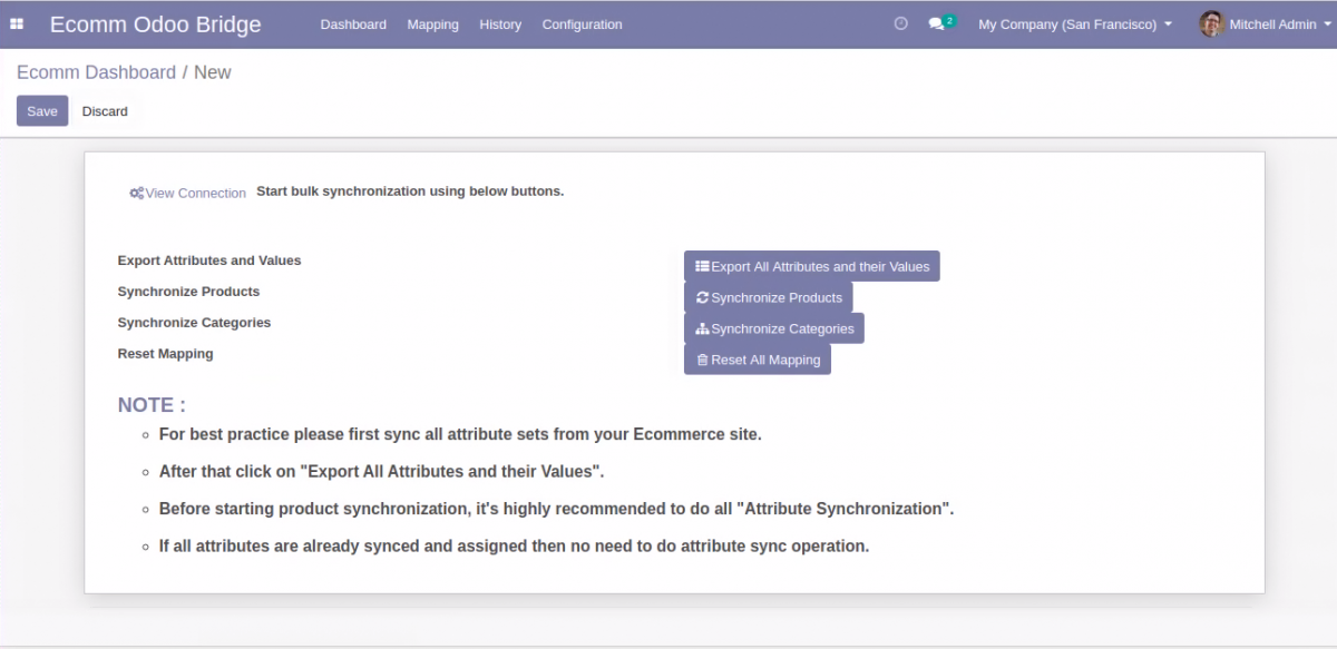 Buttons for bulk synchronization from Odoo to OpenCart