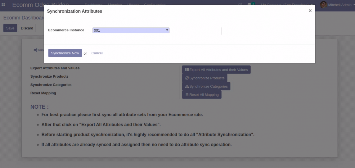 Bulk Synchronize attributes from Odoo to Opencart