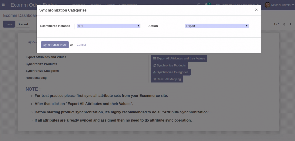Bulk Synchronize categories from Odoo to Opencart