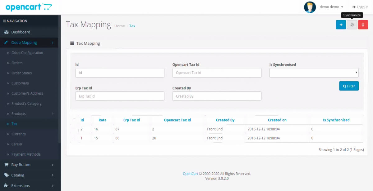 Tax Synchronization in OpenCart