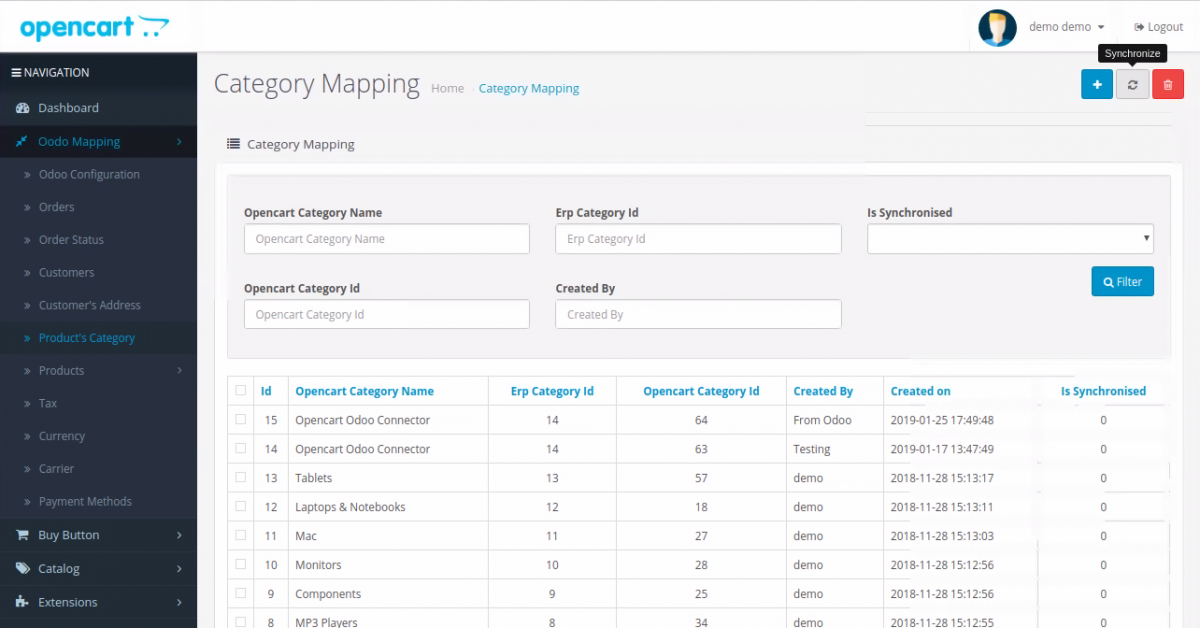 Category Mapping in Opencart