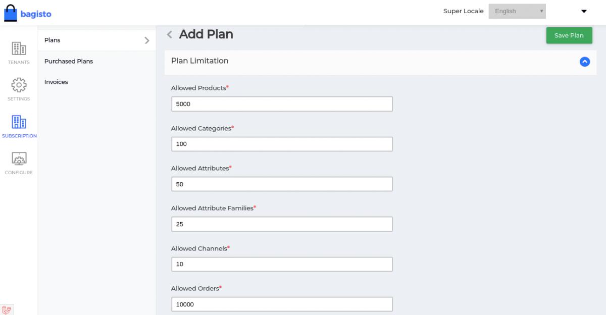 webkul-bagisto-laravel-ecommerce-saas-subscription-Plan-Limitation