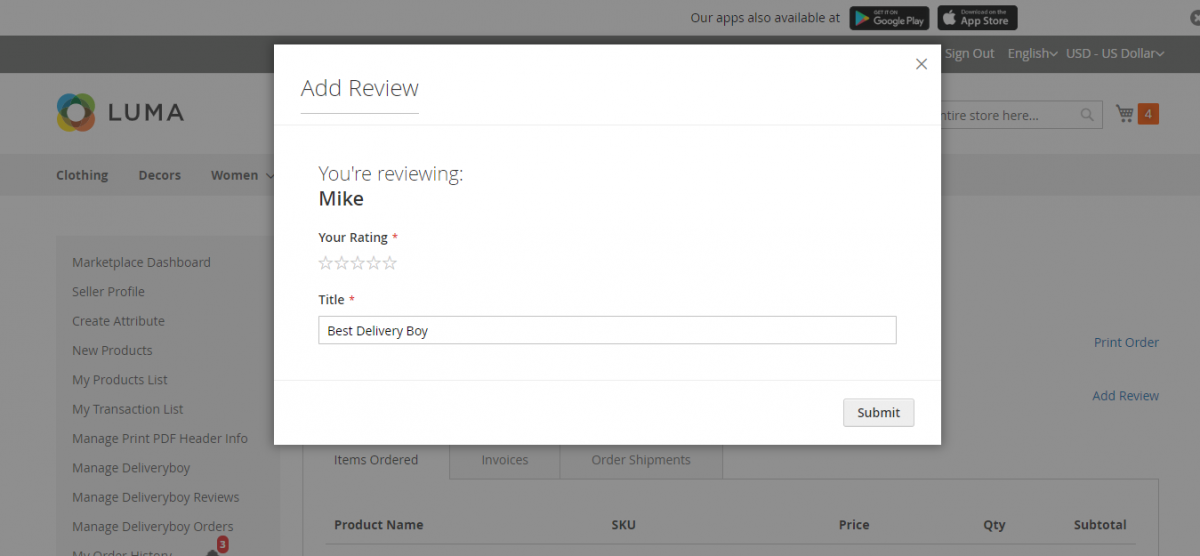 webkul-magento2-marketplace-delivery-boy-customer-adds-review-details
