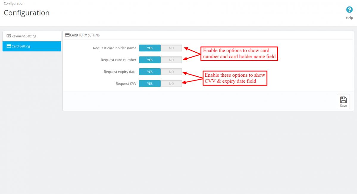 Configure Virtual Payment Terminal card form