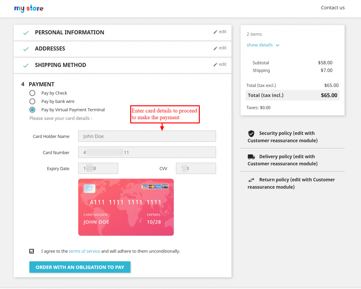 Enter details of the card to make the payment