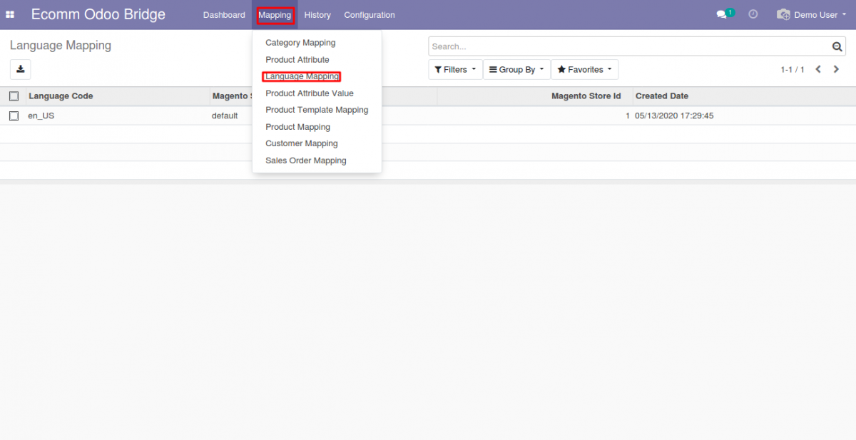 Language Mapping at Odoo end
