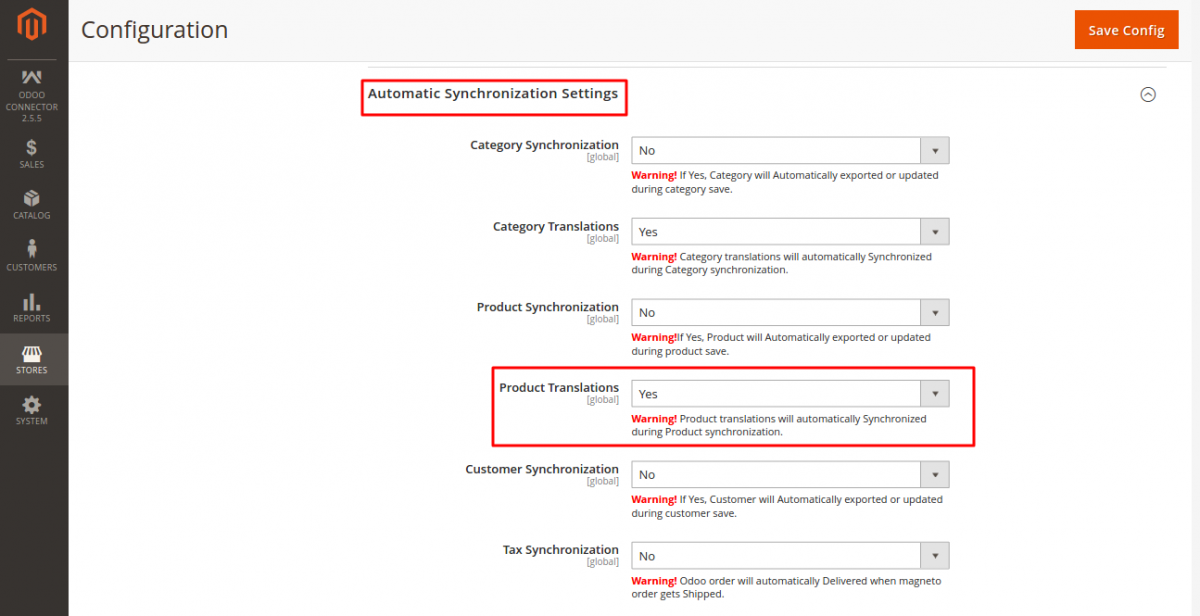 Export translations from Magento end