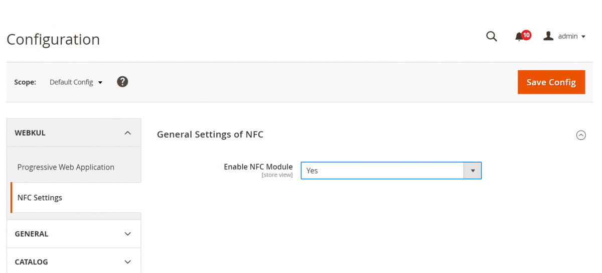 PWA Magento 2 NFC _admin-settings