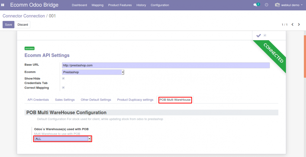 Configuration setting at Odoo end to update the sum of stock from all warehouses in Prestashop Odoo Bridge Multi-Warehouse Extension