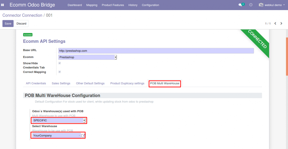 Configuration setting to update the stock from Specific Warehouse in Prestashop Odoo Bridge Multi-Warehouse Extension