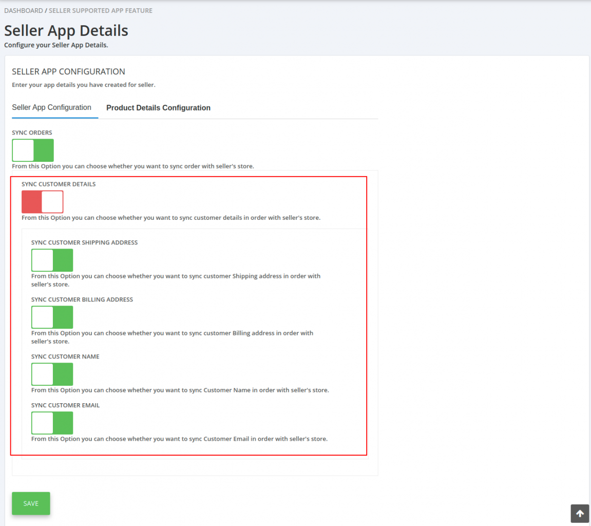 seller app configuration
