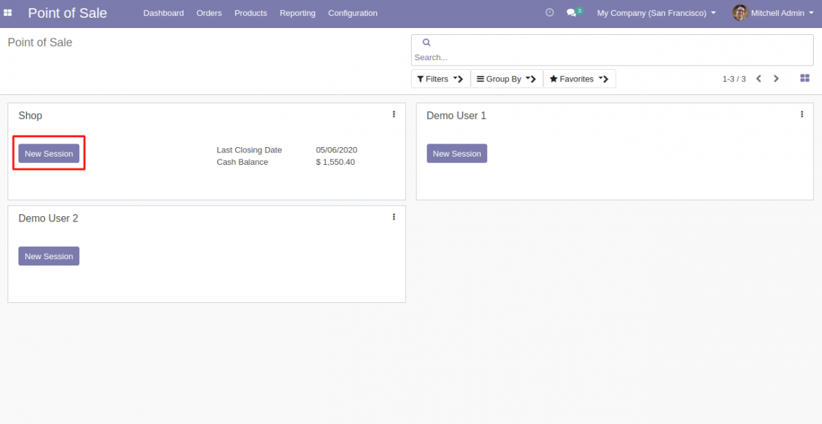 Go to POS session for Odoo POS Register Invoice Payments