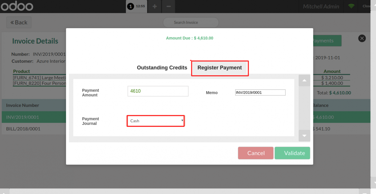 Odoo POS Register Invoice Payments