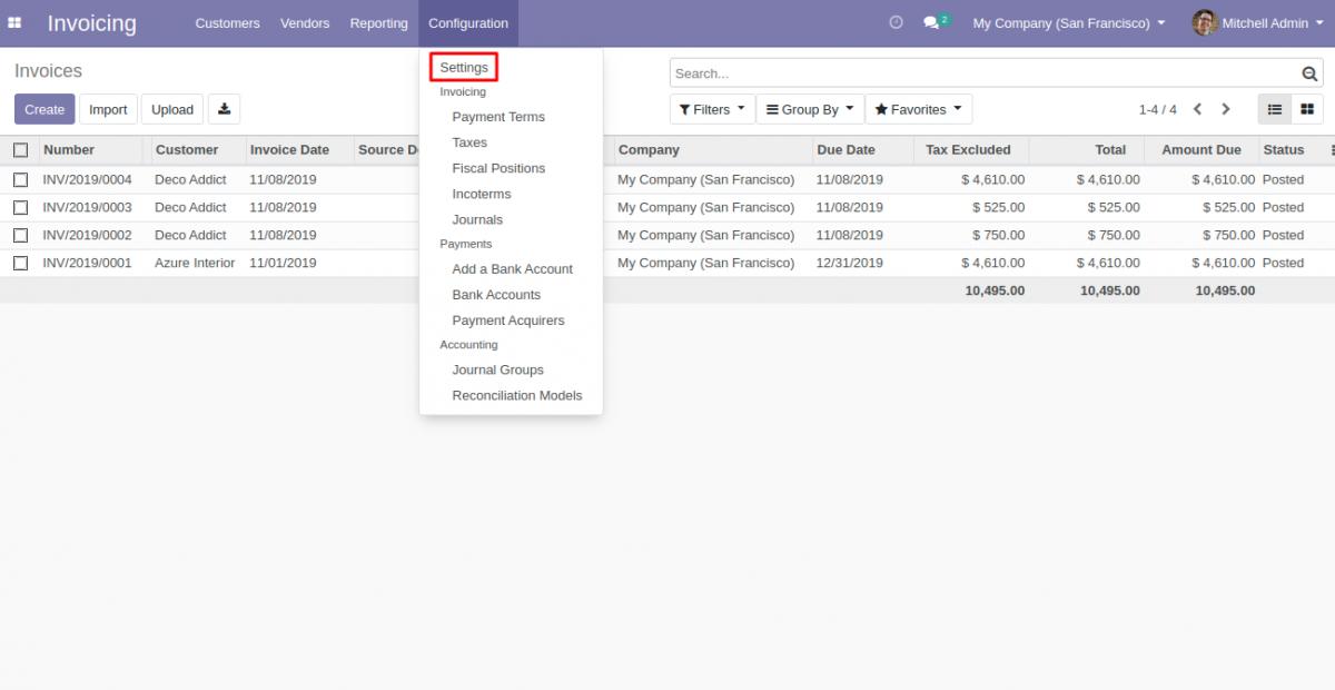 Invoicing Configuration settings