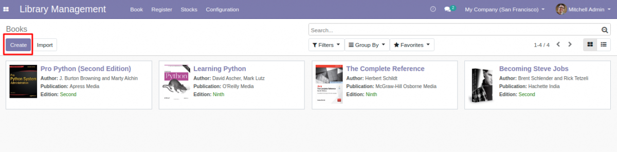 Create Books for library management system in Odoo