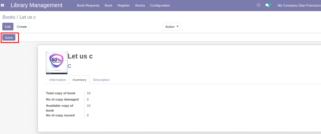 Issue book in stock in Library management system in Odoo