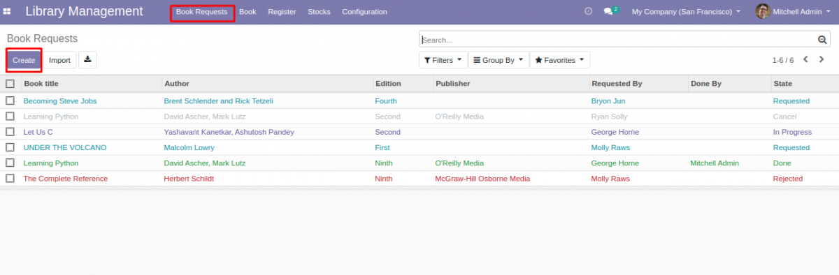 Request for new book in library management system in Odoo