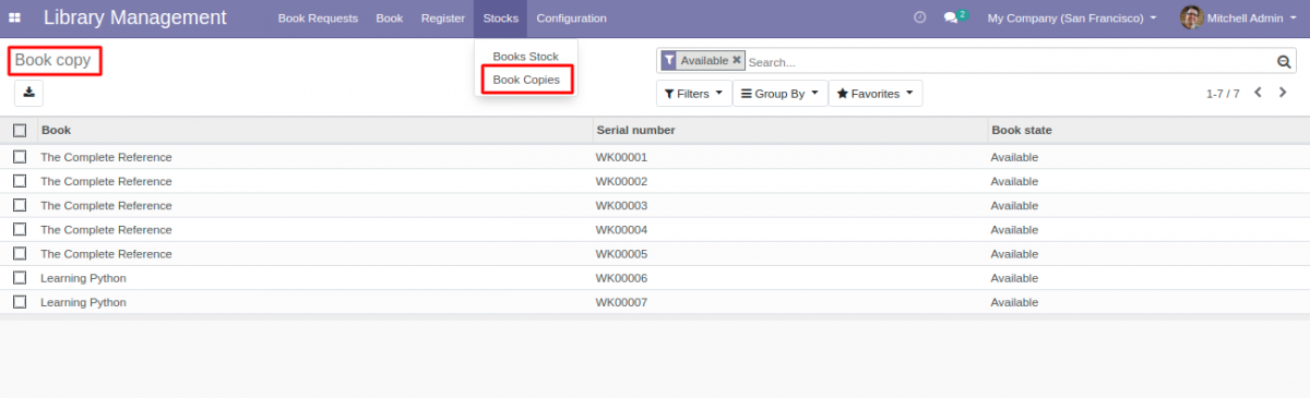 Book copy available in library management system in Odoo