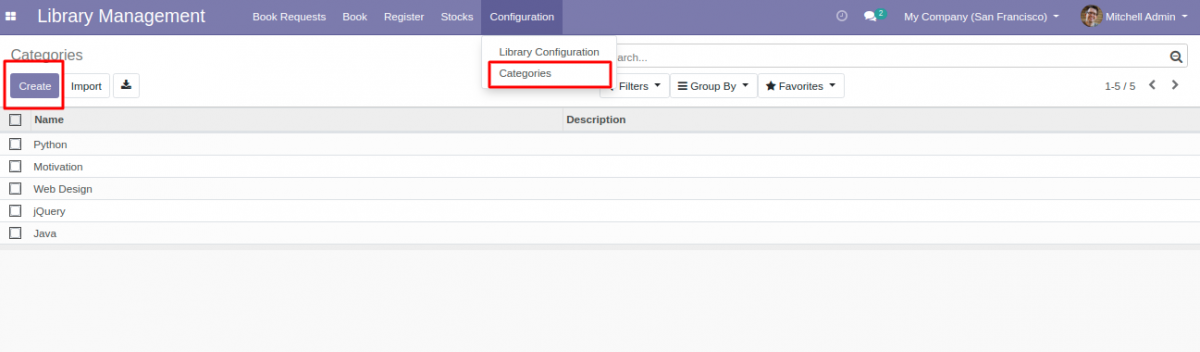 Create new category in library system in Odoo