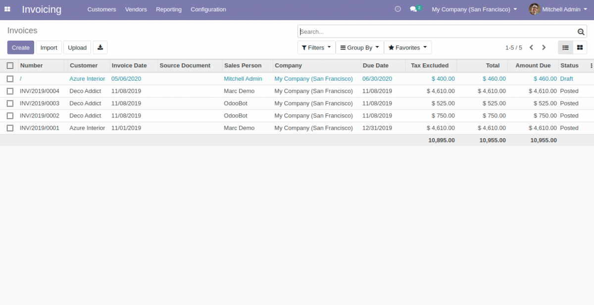 odoo invoicing backend