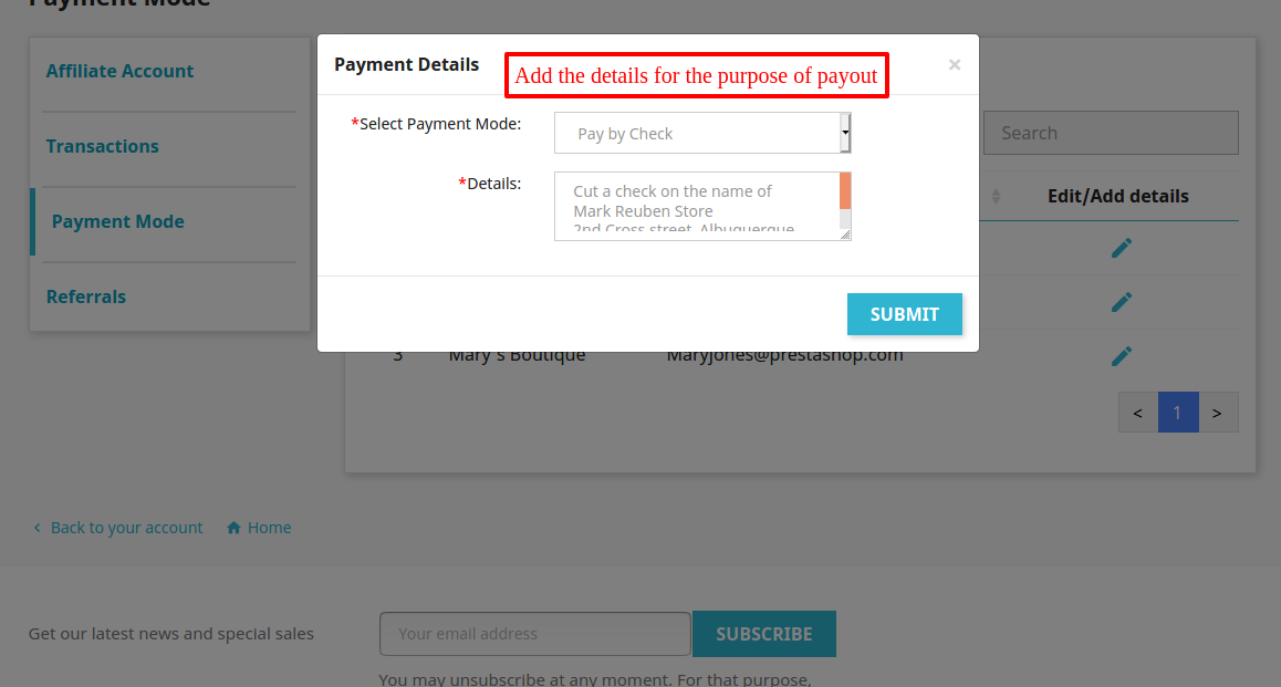 affiliate payment mode