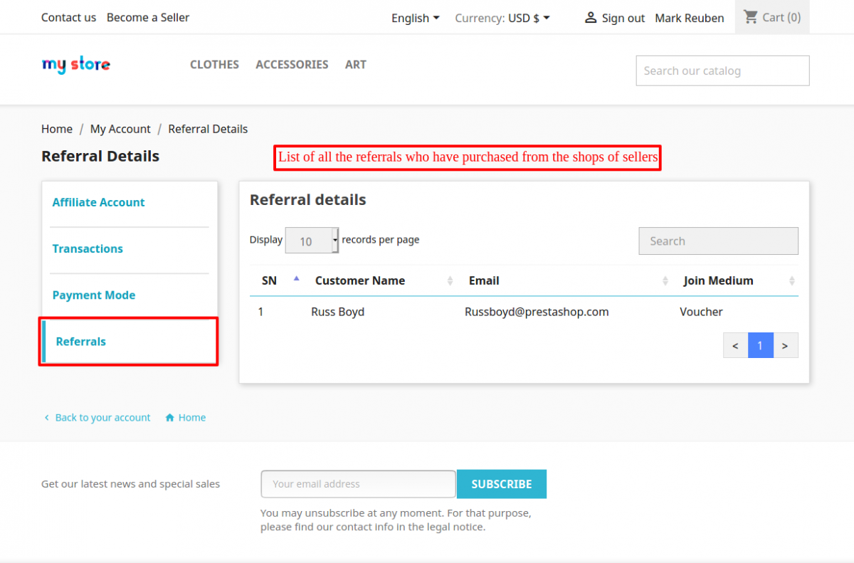 referrals of an affiliate