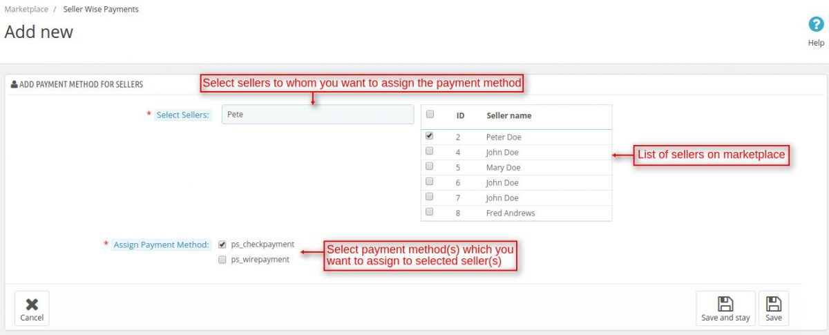 seller wise payment