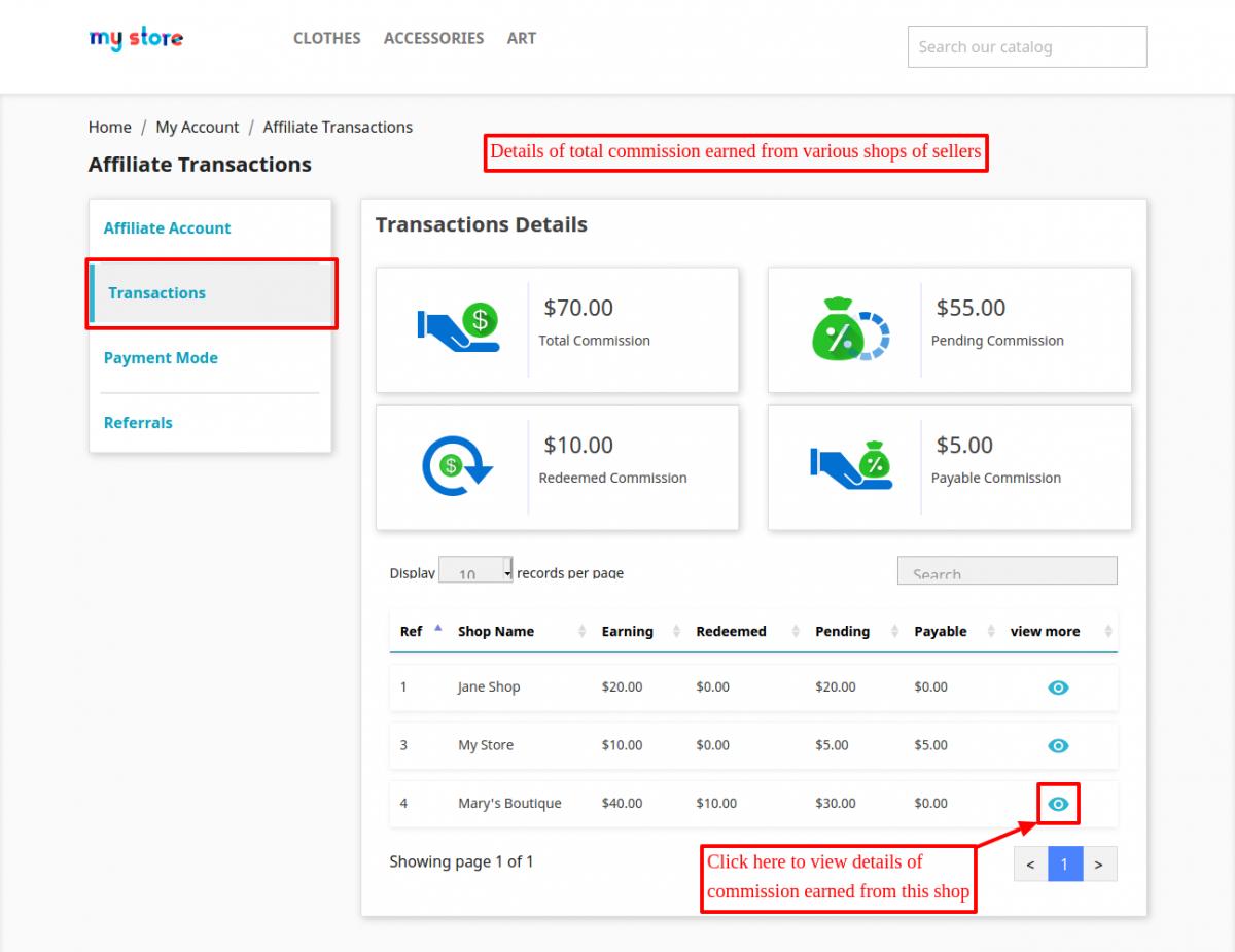 Affiliate transaction history